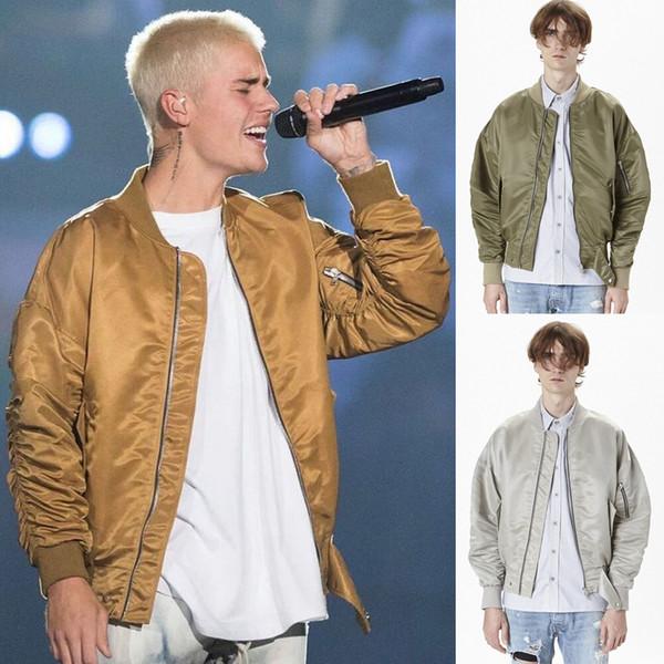 New Bomber Jacket FEAR OF DIEU Justin Bieber Surdimensionné Veste Hommes Hiver Parka Manteau Or Argent Noir Hip Hop Biker Vestes OSG1007
