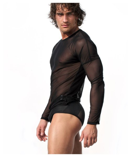 Wholesale-Black White Sexy Transparent Mens Mesh Undershirt Long Sleeve T-shirt Erotic Gay Sleep Tops Lingerie Summer Swimsuit M L XL