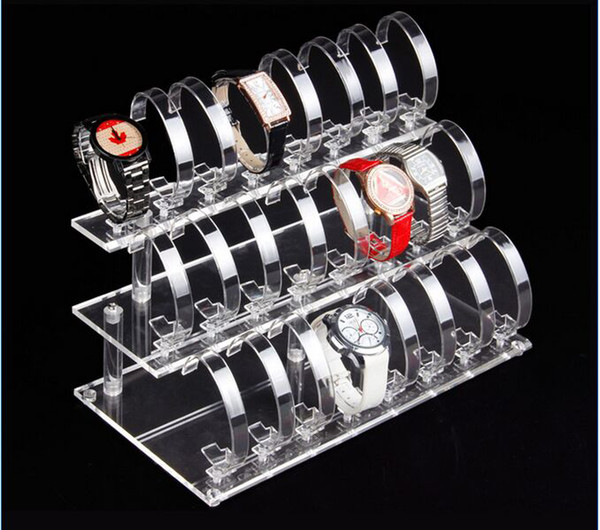 Hot selling 2016 Fashion new style 3-layer 24-bit Transparent Acrylic Watch Display Rack Holder Show Stand Jewelry Display 5pcs