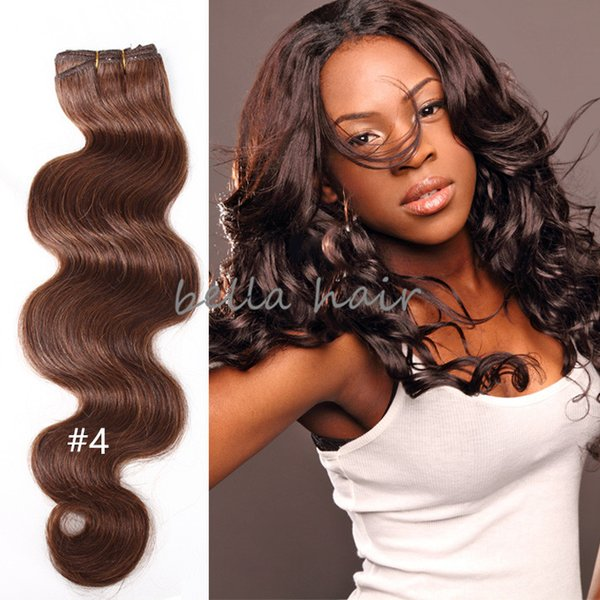8A Body Wave 4pcs/lot Brazilian Malaysian Indian Peruvian Dark Brown Black Hair Weave Human Hair Weft free shipping Bella Hair