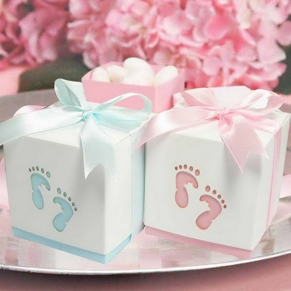 Free Shipping 12PCS Pterry Feet Cut-Out Candy Boxes with Satin Ribbon for Baby Shower 1ST Birthday Party Favor Boxes