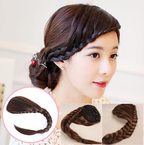 best selling Sara 8*30CM Braids Bang Braiding Hair Bangs Hairpieces Clip in Bangs Fringe Bohemia Braid Hair Bang Headband Hair Accessories