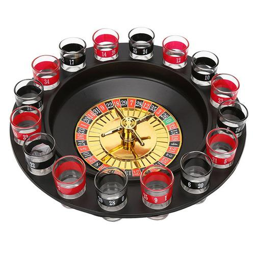 New Shot Glass Deluxe Russian Spinning Roulette Poker Chips Bere Gioco Set Party Supplies Vino giochi per adulti Drinken Game