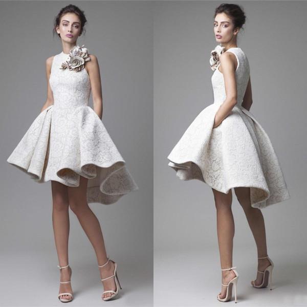 2016 krikor Jabotian Full Lace High Low Formal Evening Gowns Modest Hand Made Flower Shoulder Short Prom Dresses Custom Made China EN62710