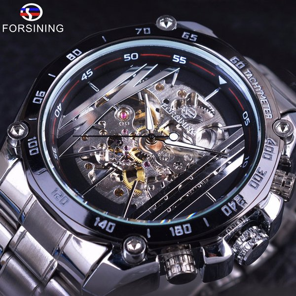 Forsining Luxury Automatic Mens Watches Military Sport Design Transparent Skeleton Mechanical Silver Stainless Steel Man Wristwatches Clock