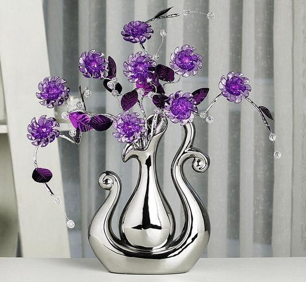 Modern Lucky birds 13 Shapes Ceramic Vase for Home Decor Tabletop this pirce is for a set vase and flowers together