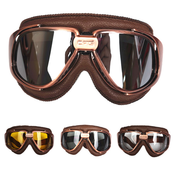 Genuine Leather goggles for vintage motorcycle helmet harley retro scooter helmet eyewear protective gear windproof goggles mask
