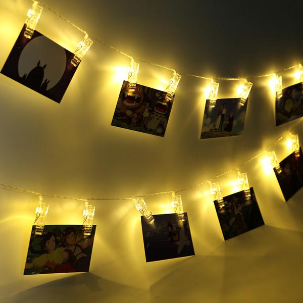 Luzes Da Corda LED Novidade Fada Lâmpada Estrelada Cartão de Bateria Clipe De Fotos Luminaria Festival Decoração de Casamento de Natal