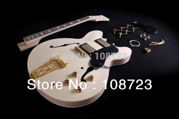 DIY Semi Hollow Body Electric Guitar For Jazz Double Cutway Guitar
