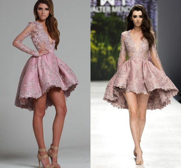 2016 New Cocktail Dresses Plunging V Neck Illusion Short Homecoming Dress Long Sleeves Lace High Low Formal Party Dress Prom Gowns For Women