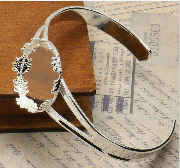 The crown of 25mm bracelet Came Setting Tray for Cabochons Wholesale 20pcs/lot Silver Plated Adjustable Jewelry