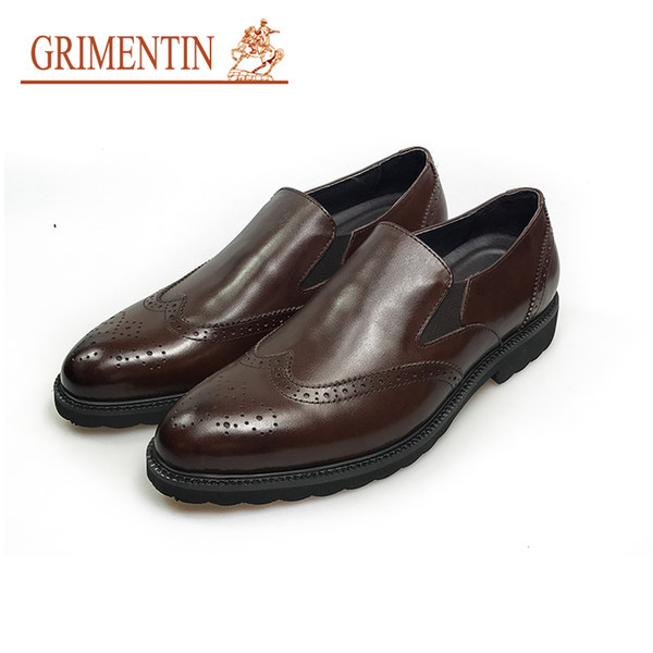 GRIMENTIN luxury brand mens dress shoes fashion Italian designer formal mens casual shoes hot sale genuine slip-on male leather shoes O3