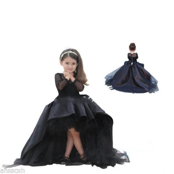 2016 Mädchen Festzug Kleider Ballkleid Blumenmädchenkleider Kleine Mädchen Party Kleid Schwarz Kleider Spitze Prinzessin Kleid Kinder Abend Prom Kleider