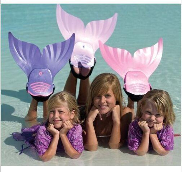 2016 Cute Kid Children Swimming Fins Mermaid Swim Fin Swimming Foot Flipper Training Shoes Tail Diving Feet Tail Monofin Wholesale