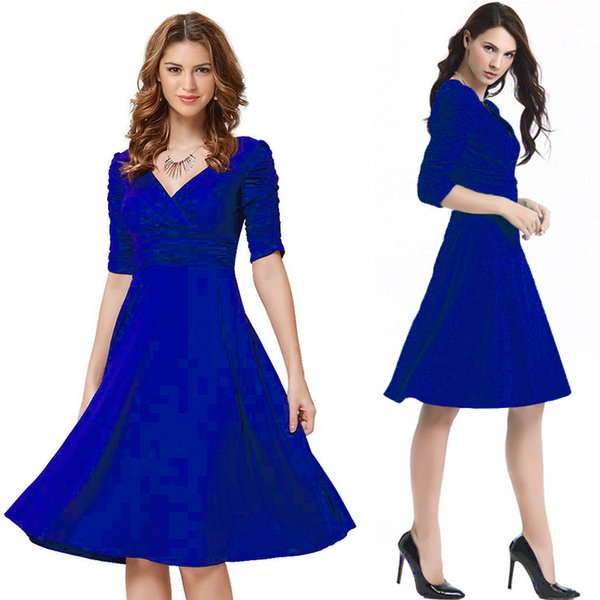 New Arrival Women Clothing European and America Elegant Dress V-neck Half-sleeved Gathering Plus Size Dresses Hot Selling