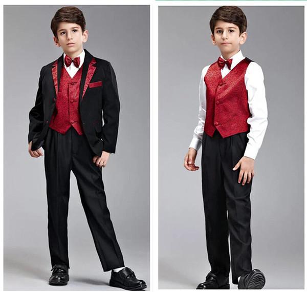 Custom Made Black Boy's Formal Occasion Children Wedding Suit Boys Attire Boy Suit Tuxedo Blazers 5 PCS Set F 1009