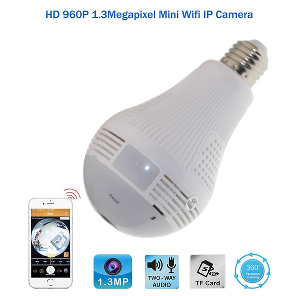 Bombilla Cámara IP Wifi 360 grados HD 960P Panorámica Ojo de pez Lámpara de lámpara Cámara Wifi P2P Teléfono Cámara CCTV remota Monitor de bebé