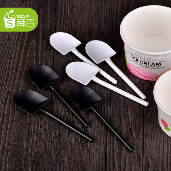 top popular 5000pcs Disposable Potted Pure Black White Ice Cream Scoop Shovel Small Potted Flower Pot Spoon Free Shipping 2019