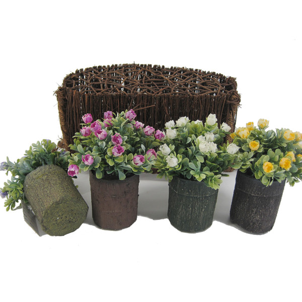 Mini Artificial Plants with Wild Rose in Imitated Wood Round Pots Table Flower potted plants for Garden Office Home Decor125-1044