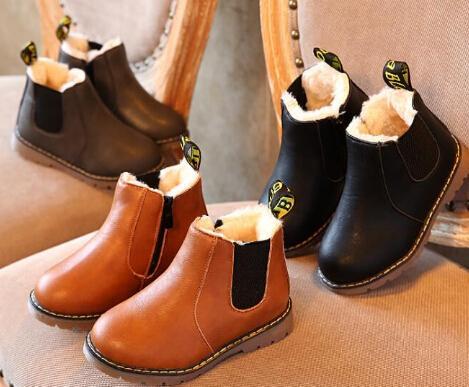 Classic Style Thick Velvet Kids Boots Zipper PU Leather Children Martin Boots Warm Winter Shoes Rubber Felt Boys Girls Boots
