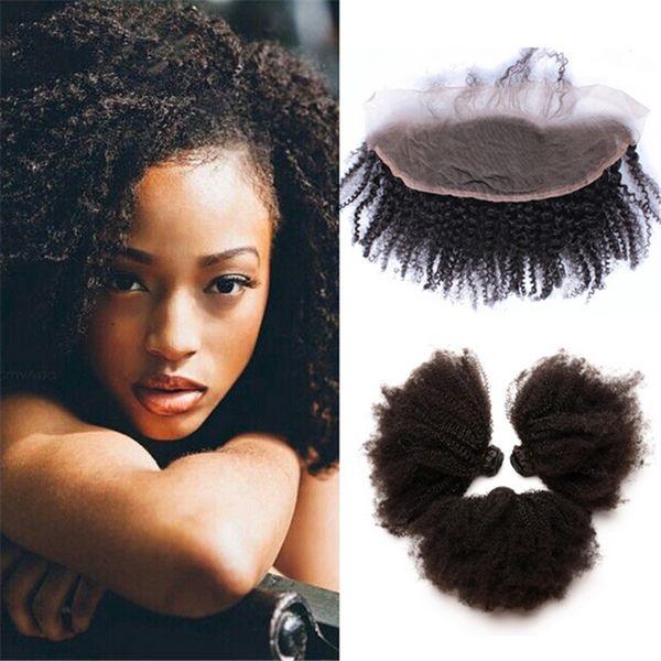 9A Afro Kinky Cheveux Bouclés Faisceaux Avec Fermeture Frontale Dentelle Partie Libre Trois Partie Oreille À La Dentelle Frontale Avec Paquets 4 Pcs / Lot