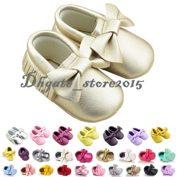 19 Colors New Baby First Walker Shoes Baby PU Leather Shoes soft sole moccasin leather Colorful Bow Tassel booties toddlers shoes