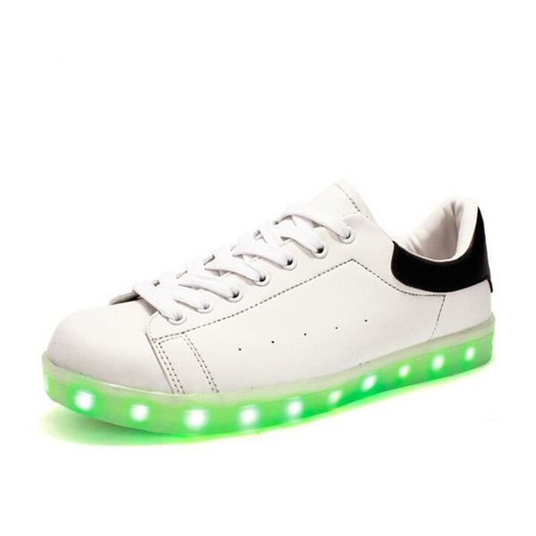 Fashion LED Shoes for Couples Cool Rainbow Color Flashing Shoes Womens Stan Smith Casual Shoes Skateboard