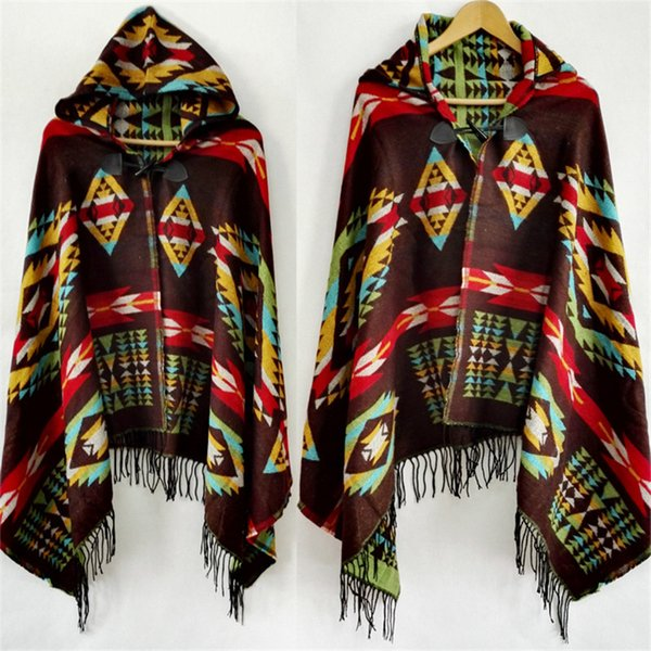 Fringe Geometric Bohemia Cardigan Sweater Winter Hooded Outwear Wool Blend Ethnic Style Print Blanket Cloak Women's Poncho Cape