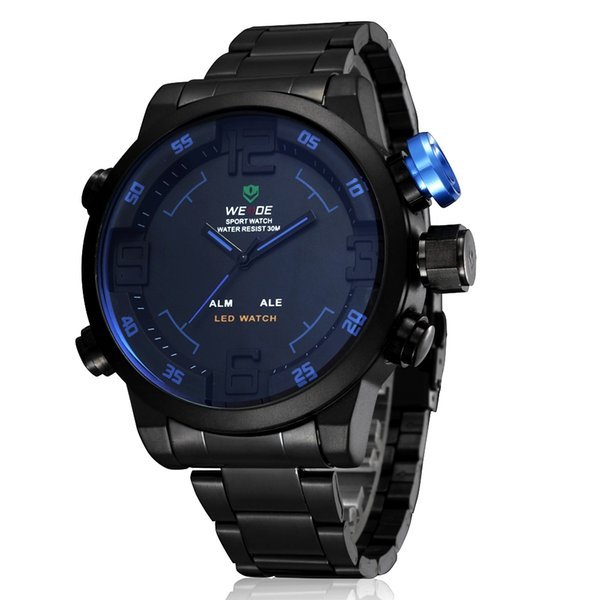 2016 New OHSEN Brand Digital Sport Mens Quartz Watch Wristwatch Male 30M Waterproof Full steel Strap Blue Fashion Hand Clocks