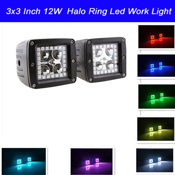 2pcs 3x3 Inch 12W LED Work Light with RGB Halo Ring Angle Eyes Remote Controller Color Changing over 12 Colors for Car Tractor Boat Off Road
