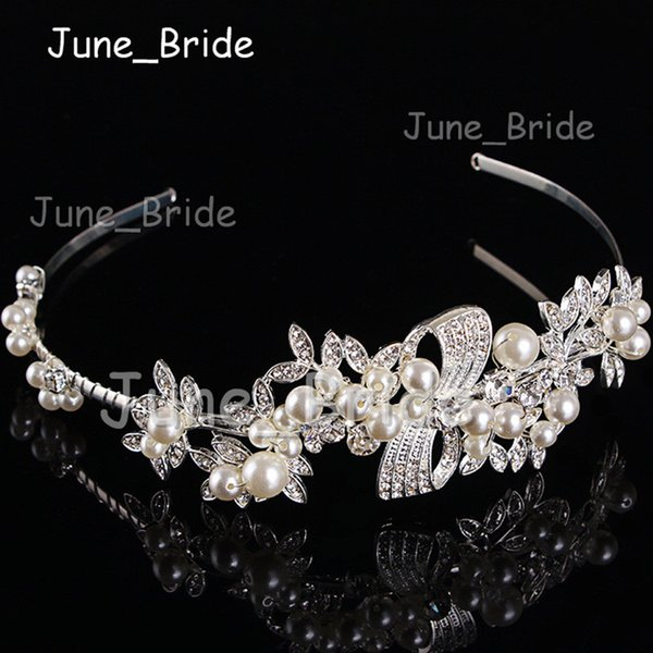Luxury Crystal Pearl Bridal Garland High Quality Hairbands Floral Rhinestone Wedding Party Hair Jewelry Handmade Headpiece Headband Hot Sell