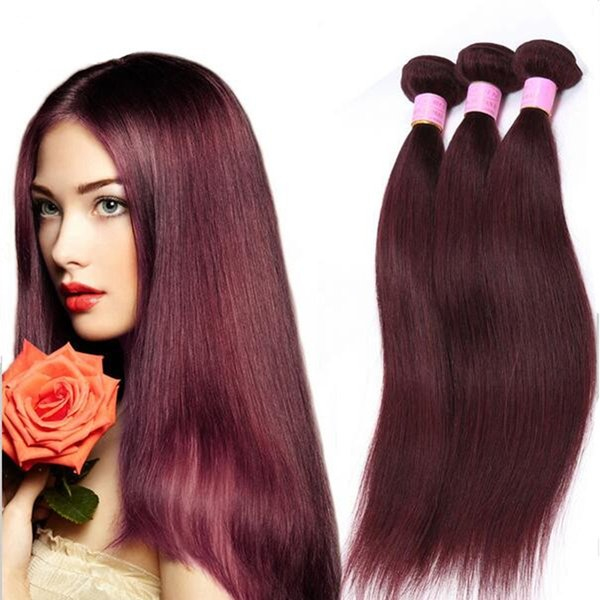 Grade 9a Brazilian Burgundy Hair Extensions Pure Color 99j Wine Red