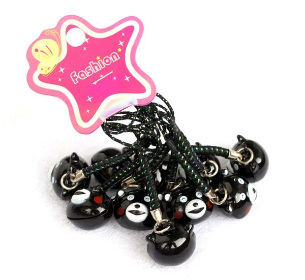 Free Shipping 100pcs Cute Black Kumamon Pendant Cell Phone Charm Straps with Bell Cartoon Cell Phone Strap Bell Charm New Style