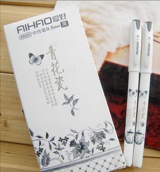 All'ingrosso-1 PCS vintage retrò in stile cinese penna gel blu e bianco porcellanato forniture per ufficio scuola cancelleria