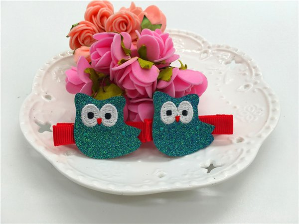 10Pairs Fashion Embroidery Glitter Owl Barrettes Cute Cartoon Animal Babies Felt Hair Clips Baby Girls Hair Accessories