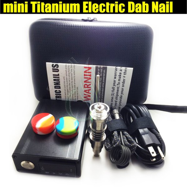 Top mini electric Titanium Dab nail universal DNail set for 10 16 20mm female glass water pipe bong 6in1 bongs e cigs Rig vaporizer Kits DHL