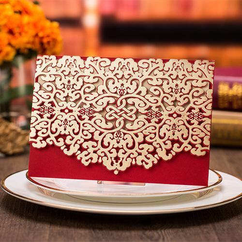 Wedding Invitation 2017 Custom Printing Patter Red Sample Personalised Handmade Laser Cut Lace Birthday Invitation Envelope Wedding Cards Seashell