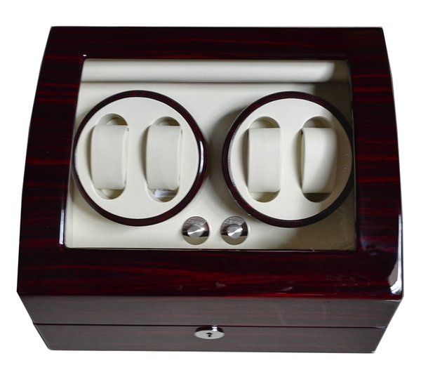 best selling Global Fit Plug Dry Battery Luxury Gift for Brand Watches Storgae&Display Auto Watch Winder Box Glossy Lacquer Wooden Leather Rotator Case