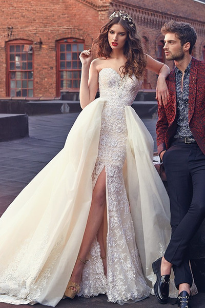 Sweetheart thigh-high slits tiered skirts lace dresses court train New style Sexy and beautifull Sheath Wedding Dresses