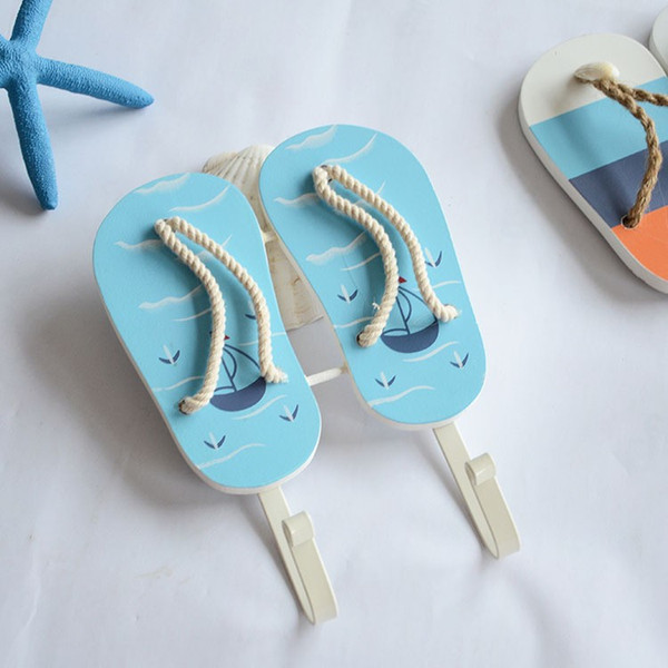 Free Shipping(2pcs/lot) Woodiness Arts and Crafts Originality Mediterranean Sea Style The Clothes Hook Slipper Hook