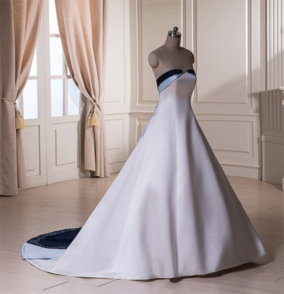 Elegant A-line Satin Strapless Wedding Dress 3 Colors stitching together Bridal Gown Beaded Embroidery Zipper Back Chapel Train