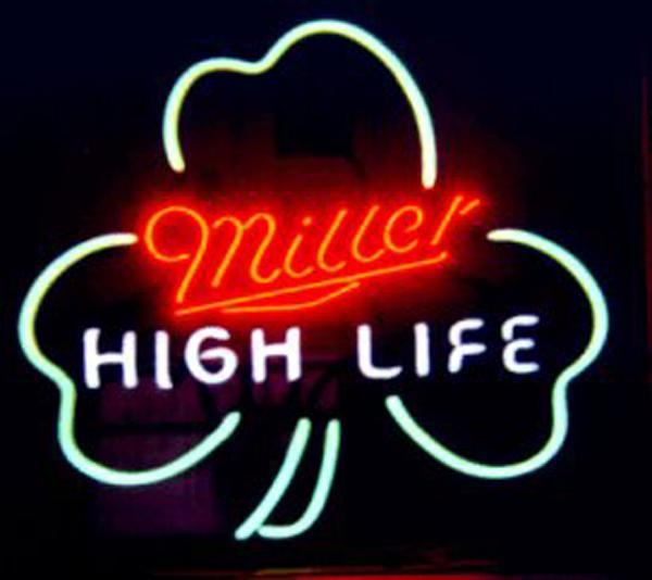 Miller High Life Shamrock Neon Sign Tienda de tubo de vidrio real hecha a mano real Beer Bar KTV Club Pub Publicidad Display Letreros de neón 19