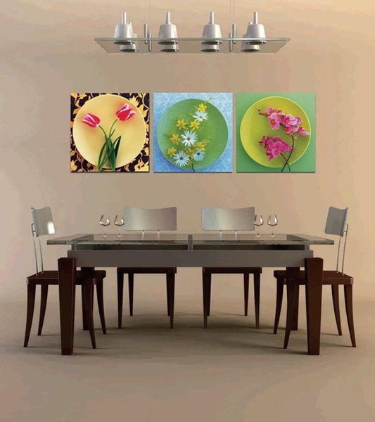 Home decoration unframed 3 Pieces art picture free shipping Canvas Prints tulips Daisy orchid mountain tree flower house Abstract painting