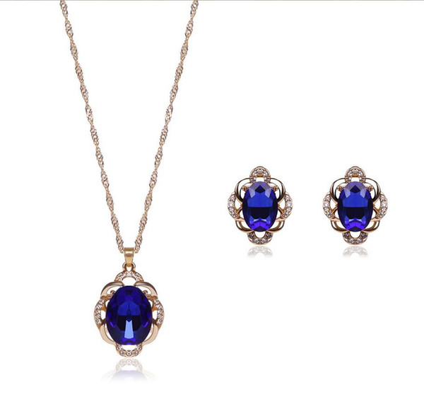 Fashion 18kgp Crystal Jewelry Sets 2 colors High-Grade Necklace Set For Wedding Jewelry 20Sets Min Order 61152235