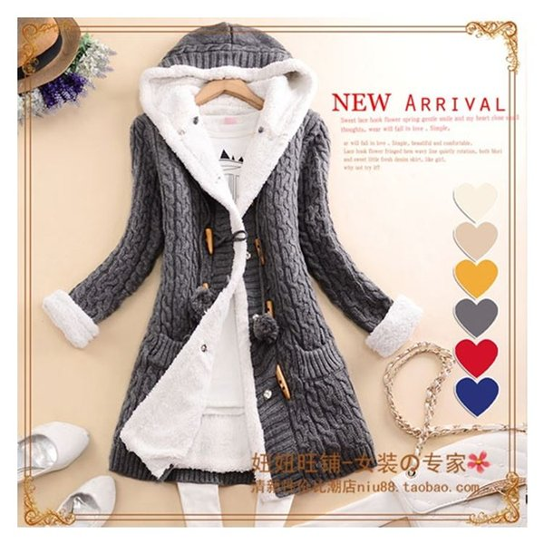 New arrival Girl Sweater Coat Winter 2017 Autumn Casual Solid Hooded Long Thicker Cashmere Knit cardigan sweater Jacket Students
