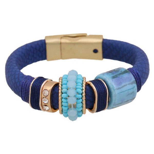 High-grade Magnet Buckle Leather Bracelets 5 Colors Hot Sale Fashion Elegant Rhinestone Bracelet - 5 Cheap jewelry catholic
