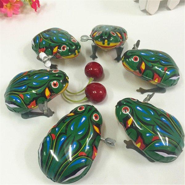 Demir kurbağa satan üreticiler klasik oyuncaklar zincir clockwork teneke Atlama Kurbağa