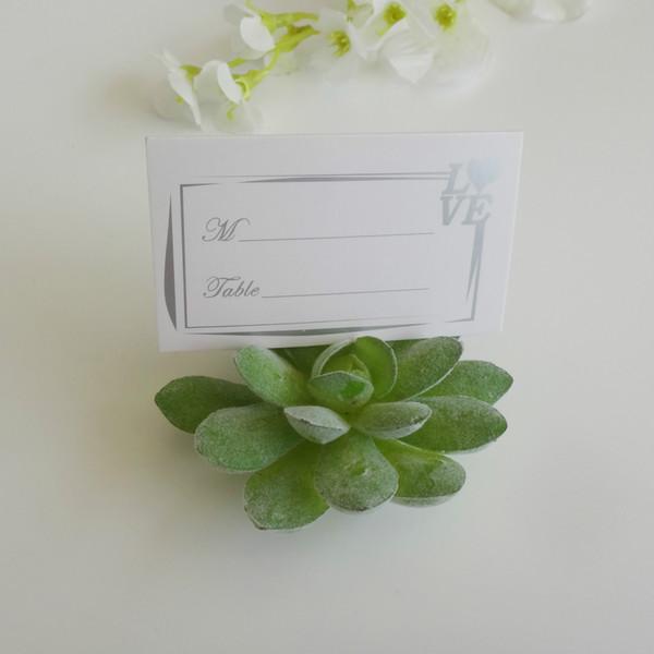 100 adet / grup Doğal Tasarım Yeşil Etli Yeri Kart Sahipleri / Masa Numarası Tutucu WeddingBridal Duş Iyilik + ÜCRETSIZ KARGO