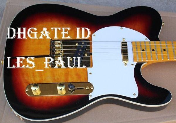 Nouvelle arrivée Custom Shop Guitare Telecaster Merle Haggard Signature Tuff Dog Tele Sunburst Guitare électrique Or Matériel, Flame Maple Top