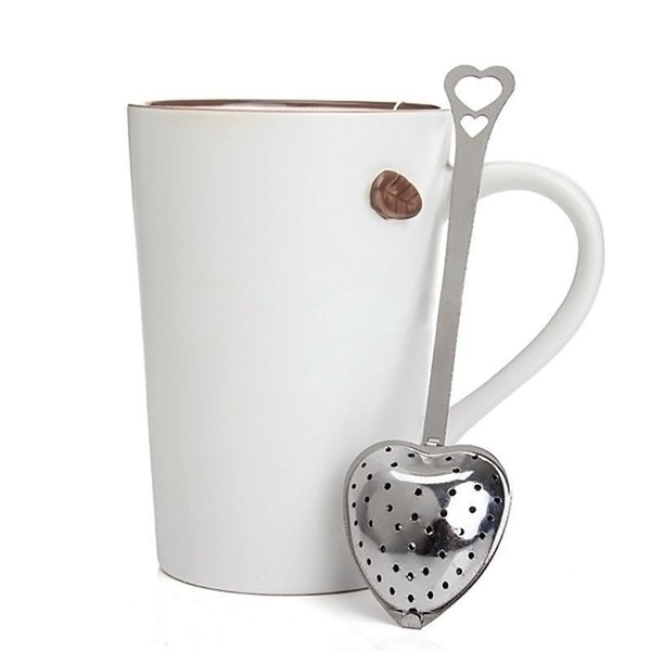 Al por mayor Nueva Colador Strap Steeper Shower Colador Herramienta Corazón Forma de acero inoxidable Infuser Spoon